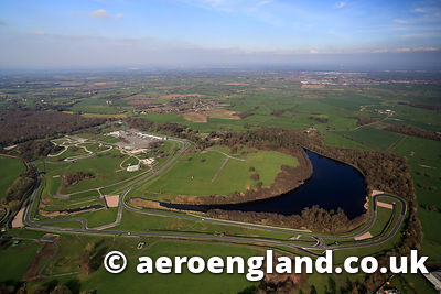 aerial photograph of Oulton Park Circuit , motor racing track , Cheshire England UK