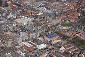Chester aerial photograph looking across Pepper Street towards Foregate Street