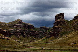 Tinajani Canyon and storm clouds in rainy season , near Ayaviri , Puno department , Peru