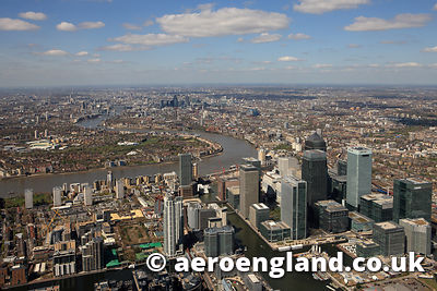 aerial photograph of Canary Wharf  Docklands  London