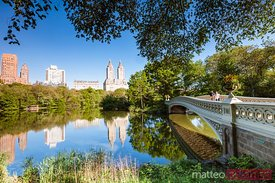 Bow bridge in springtime, Central Park, New York