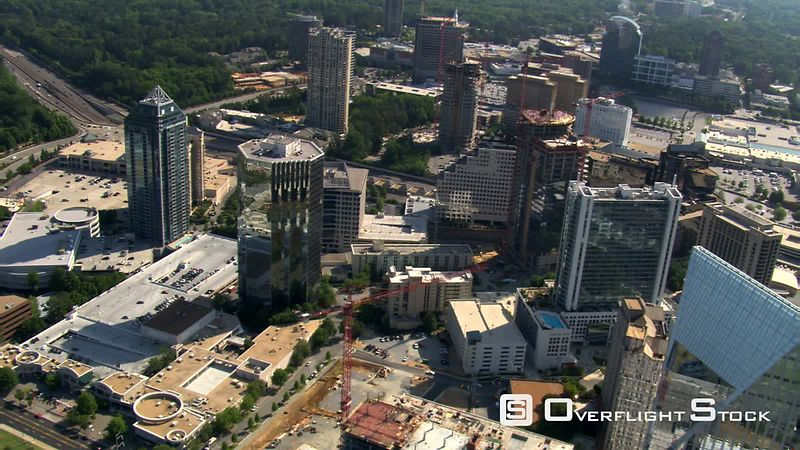 Flight over Buckhead District, north of Atlanta, Georgia.