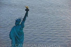 Aerial photograph of the Statue of Liberty in New York Harbor