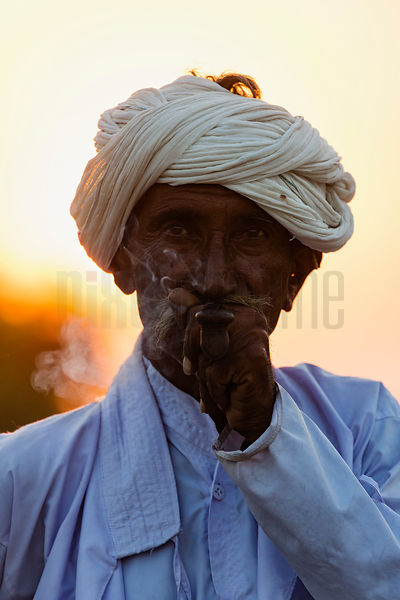 Portrait od a Rabari Man Smoking a Pipe