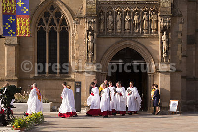 Choristers from the Leicester Cathedral Choir Walking from the Cathedral Building