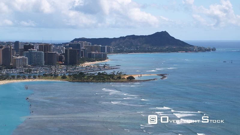 Flying past Waikiki toward Diamond Head.