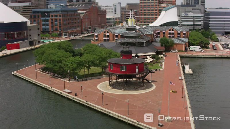 Baltimore, Maryland Aerial view of Seven Foot Knoll Lighthouse.  Shot with Cineflex and RED EpicW Helium.