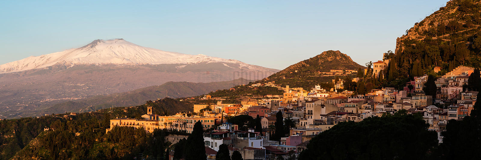 View of Taormina and Mt Etna at Sunrise