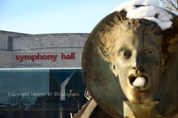 Statue and Symphony Hall, Birmingham.