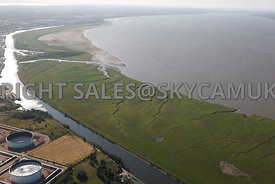 River Mersey aerial photographs wide angle view of the mud flats Stanlow Point River Ellesmere Port River Mersey