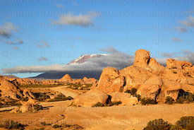 Eroded volcanic rock formations and Cerro Caquella volcano, Nor Lípez Province, Bolivia