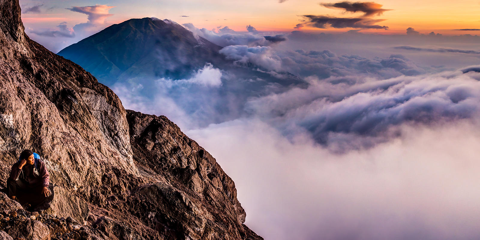 From Mt. Merapi at Sunrise.  Gunung Merbabu is in the distance.  Near Yogyakarta, Indonesia.