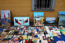Stall selling paintings and second hand books , Baquedano Street , Iquique , Region I , Chile
