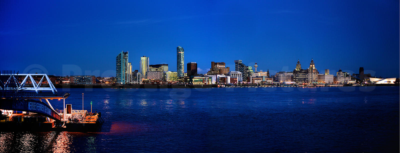 The Lights of Liverpool Across the Mersey from the Seacombe Ferry Terminal at Night