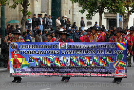 Members of the Departmental Federation of Campesino Workers Union during Independence Day parades, La Paz, Bolivia