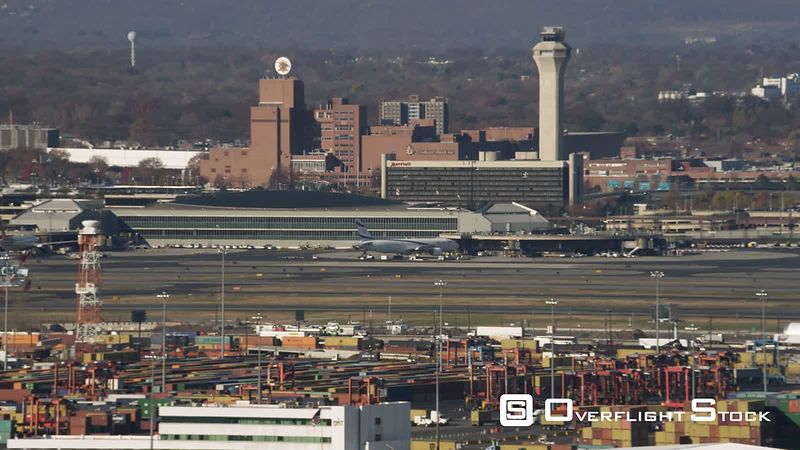 Aerial View of Port Newark and Newark Airport, New Jersey.