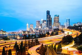 Skyline and Interstate at dusk, Seattle, USA