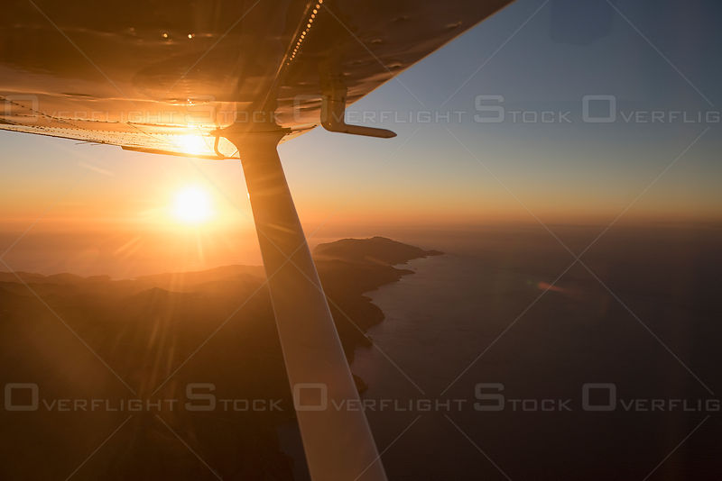 Aerial view of Santa Catalina Island off the coast of Los Angeles, CA, USA