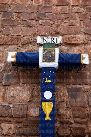 Detail of cruz velakuy cross with holy communion symbols, Cusco, Peru