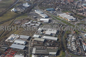 Widnes high level aerial photograph looking across old disused industrial land towards Widnes Trade Park Dennis road towards Ashley Way and the Ashley retail park