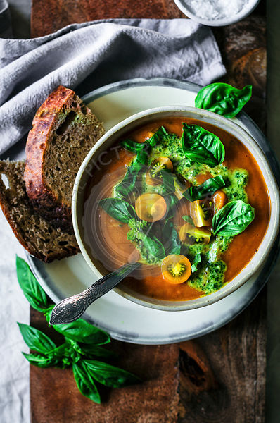 Roasted tomato, zucchini, and eggplant soup with pesto