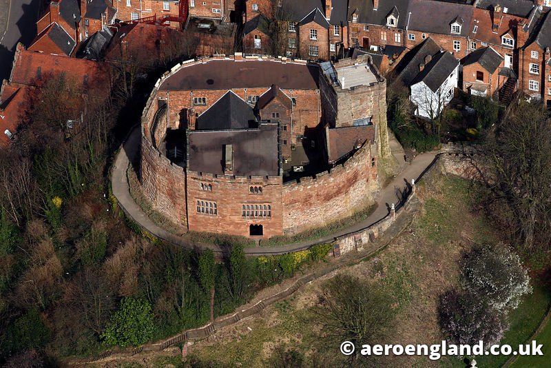 aerial photograph of Tamworth  Castle  Staffordshire England UK