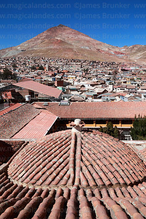 View over Potosí to Cerro Rico from San Francisco church roof, Bolivia