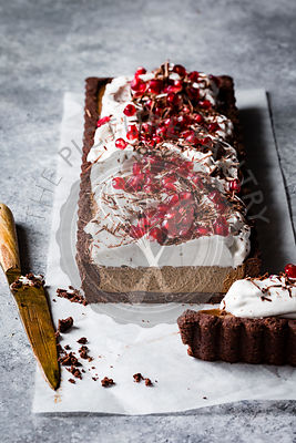 Chocolate Pomegranate Cream Vegan Tart
