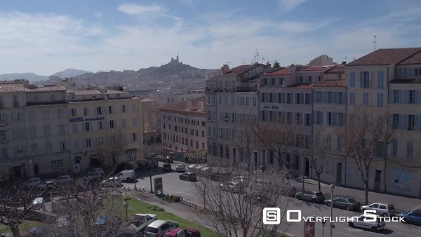Aerial view of Marseille downtown cityscape, filmed by drone from the Saint-Charles train station, Marseille, France