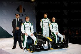 Tony Fernandes (MAS), Jarno Trulli (ITA), Fairuz Fauzy (MAS), Heikki Kovalainen (FIN), Lotus Cosworth T127 F1 Launch, Royal Horticultural Hall, London, GBR