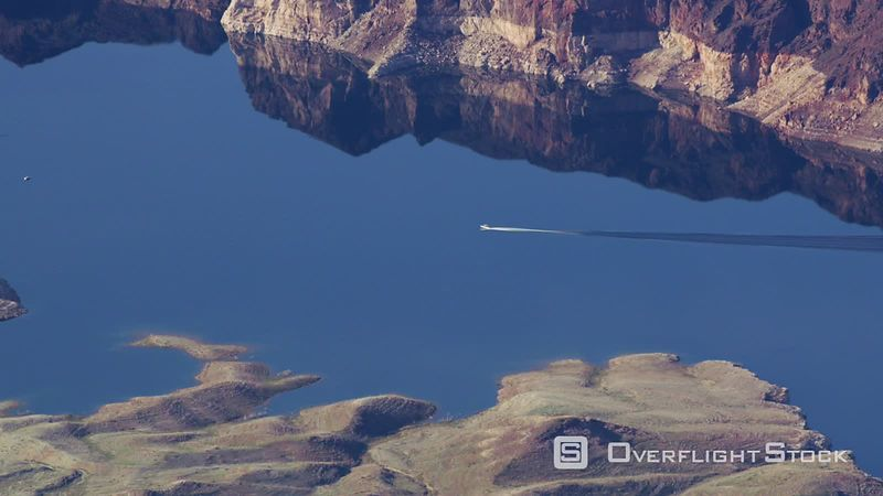 Aerial view of boat on Lake Mead, Nevada