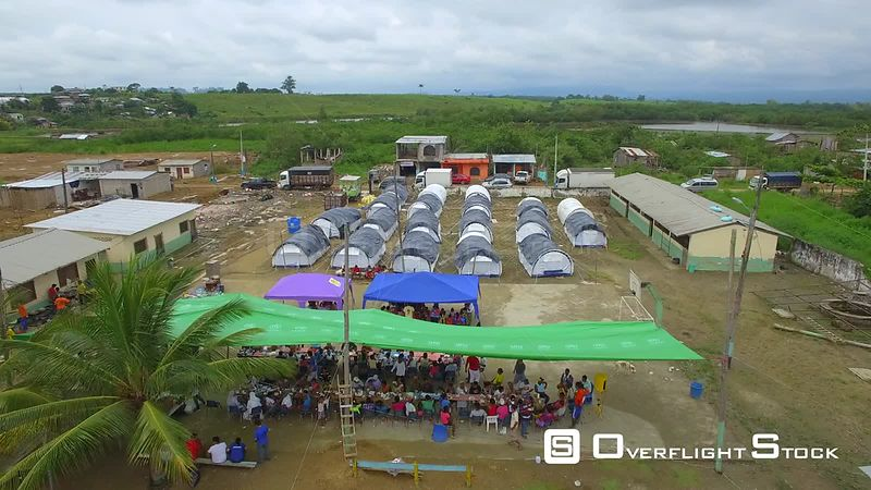 April 16, 2016  Chamanga, Ecuador Earthquake Damage. Shelter and Aid Relief.
