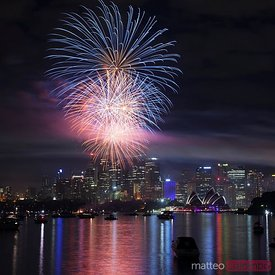 Fireworks on new year's eve, Sydney harbor, Australia