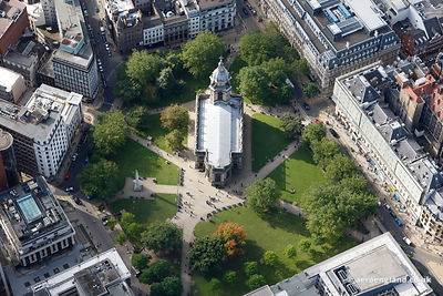 aerial photograph of  Birmingham Cathedral  West Midlands England UK