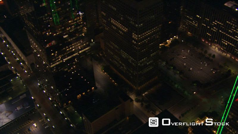 Looking down onto deserted streets at night in Dallas, Texas