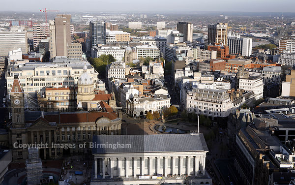Birmingham city centre skyline showing the Town Hall, St Phillips Square, Council House