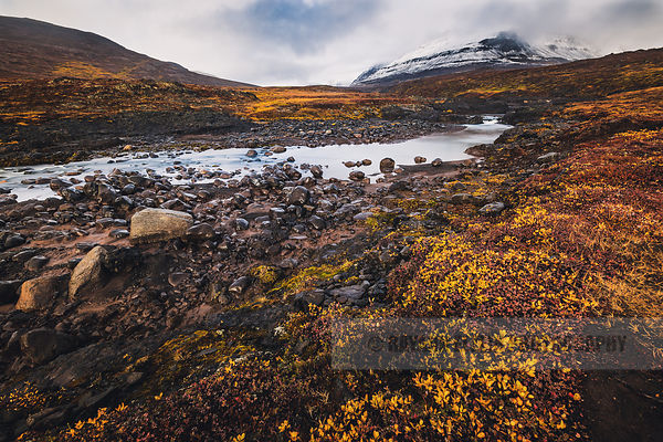 River flowing through the Disko Island landscape, with snowy mountain and yellow and orange autumn colours