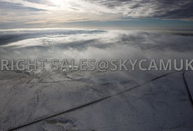 Winter aerial photograph of winter flying conditions over the Pennines