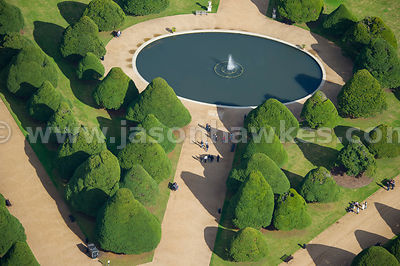 Aerial view of fountain in Privy Garden, Hampton Court