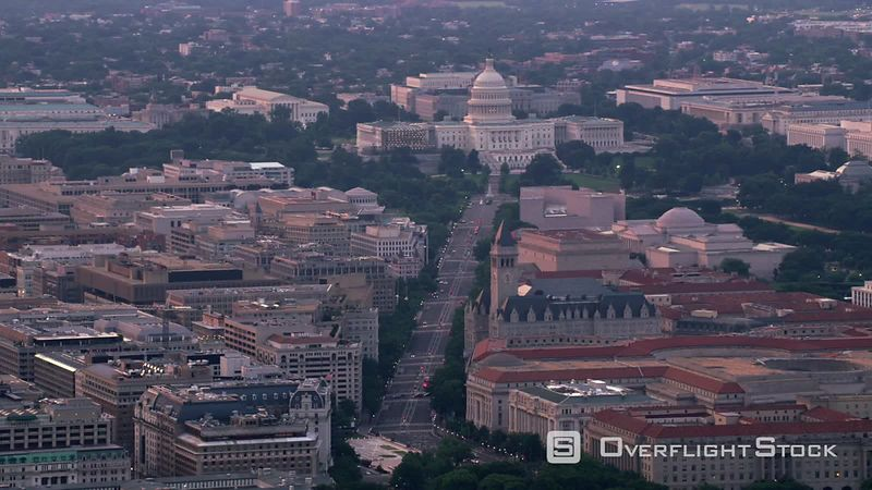 Washington, D.C. Aerial view of Pennsylvania Avenue leading to Capitol.  Shot with Cineflex and RED EpicW Helium.