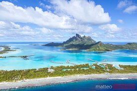 Aerial view of Bora Bora island, French Polynesia