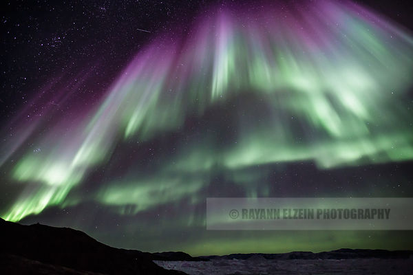Strong northern lights in Ilulissat, Greenland