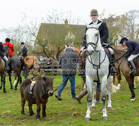 Angus Smales, Archie Smales at the meet - The Cottesmore Hunt at Manor Farm