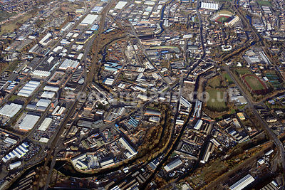 aerial photograph of Sheffield Yorkshire showing the River Don, Sheffield & Tinsley Canal and surrounding vicinity