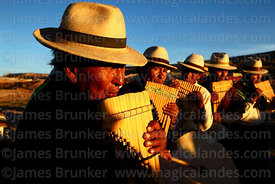 J'acha sikus musicians from Aransaya playing panpipes / sicus before sunset, Curahuara de Carangas, Bolivia