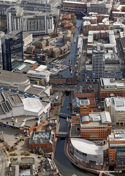 aerial photograph of  Brindleyplace and the BCN Main Line Canal in  Birmingham, West Midlands England UK