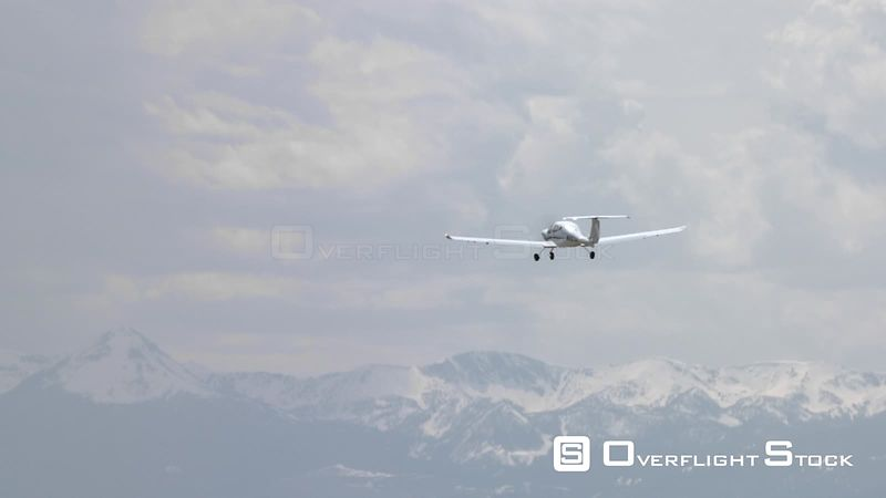 A small plane takes off from the Bozeman Yellowstone International Airport in Bozeman, Montana
