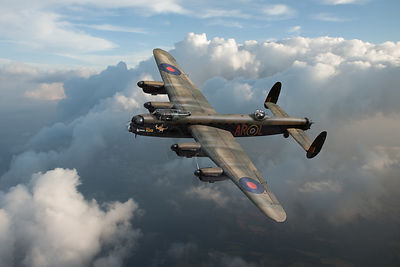 Lancaster W5005 AR-L Leader above clouds