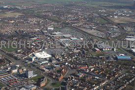 Widnes aerial photograph from the south showing the town centre and the retail shopping centres of Ashley retail park and Widnes shopping park