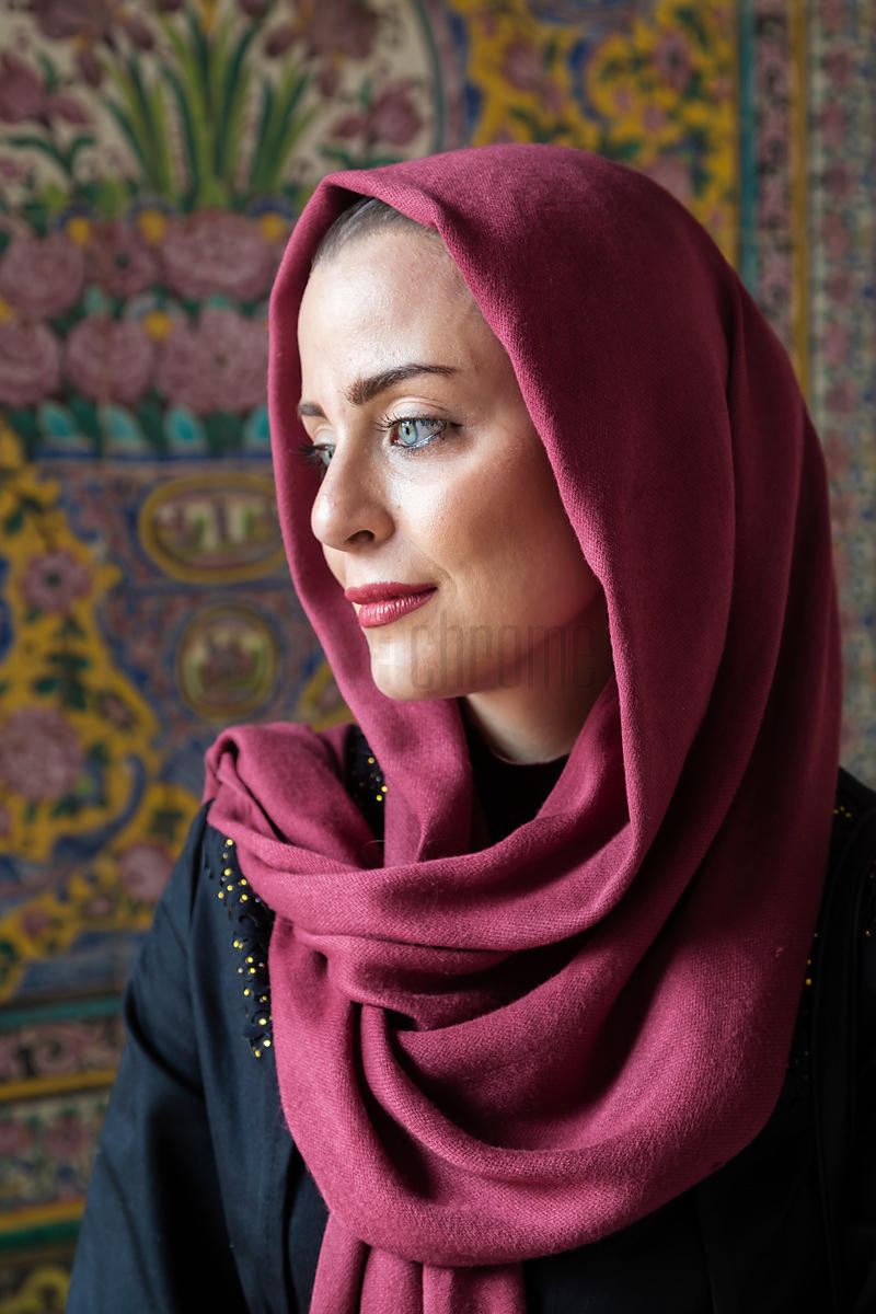 Portrait of an Iranian Woman at the Pink Mosque